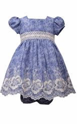 Bonnie Jean Baby-Girls Embroidered Chambray Emma Dress
