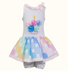 Bonnie Jean Baby-Girls Flower Cupcake Birthday Dress