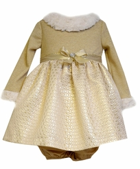Bonnie Jean Baby Girls Gold Knit Fur Trim Dress