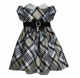 Bonnie Jean Baby Girls Gold Taffeta Plaid Dress
