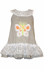 Bonnie Jean Baby Girls Grey Knit Butterfly Sundress