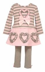 Bonnie Jean Baby-Girls Hearts and Stripes Legging Set