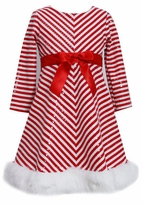 Bonnie Jean Baby-Girls Holiday Red Chevron Sequined Dress