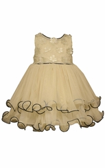 Bonnie Jean Baby Girls Ivory 3-D Flower Dress
