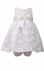 Bonnie Jean Baby-Girls Ivory Lace Ribbon Dress