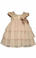 Bonnie Jean Baby Girls Metallic Jacquard Special Occasion Dress