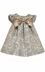 Bonnie Jean Baby Girls Metallic Toile Brocade Empire Dress