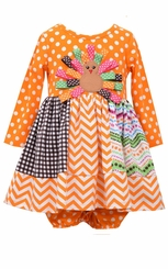 Bonnie Jean Baby-Girls Mix Panel Ribbon Turkey Dress