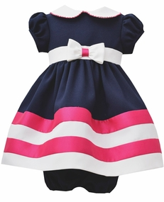 Bonnie Jean Baby-Girls Nautical Navy Fuchsia Dress - SOLD OUT