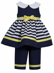 Bonnie Jean Baby-Girls Nautical Navy Yellow Stripe Capri Set