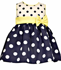 Bonnie Jean Baby Girls Navy Dot Dress