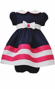 Bonnie Jean Baby-Girls Navy Fuchsia Nautical Dress