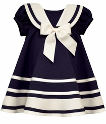 Bonnie Jean Baby Girls Navy Triple Stripe Sailor Dress