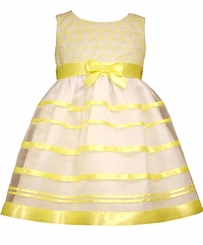 Bonnie Jean Baby Girls Newborn Yellow Ribbon Dress  FINAL SALE