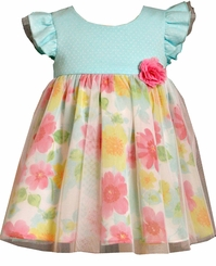 Bonnie Jean Baby Girls or Toddler Aqua Floral Dress
