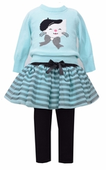 Bonnie Jean Baby-Girls Parisian Cat Tutu Legging Set