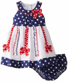 Bonnie Jean Baby-Girls Patriotic Star Bodice Seersucker Dress with Bloomer - sold out