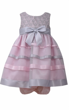 Bonnie Jean Baby Girls Pink and Grey Lace Ribbon Dress