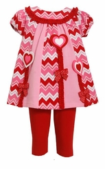 Bonnie Jean Baby Girls Pink Chevron Heart Legging Set sold out