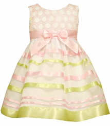 Bonnie Jean Baby Girls Pink Embroidered Ribbon Ballerina Dress