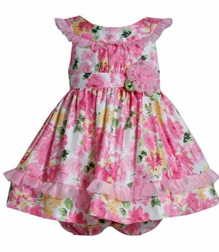 Bonnie Jean Baby Girls Pink Floral Dress with Mesh Detail