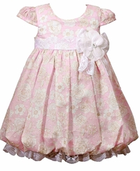 Bonnie Jean Baby Girls Pink Floral Vintage Inspired Dress