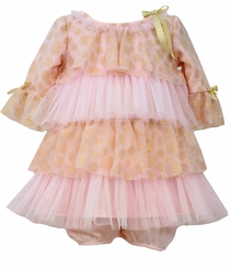 Bonnie Jean Baby Girls Pink Gold Tiered Party Dress