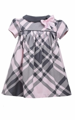 Bonnie Jean Baby-Girls Pink Gray Plaid Float Dress