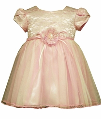 Bonnie Jean Baby Girls Pink Lace Organza Valentine's Day Baby Dress