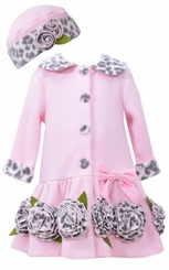 Bonnie Jean Baby-Girls Pink Leopard Coat and Hat Set