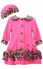 Bonnie Jean Baby-Girls Fuchsia Leopard Trim Coat and Hat Set CLEARANCE