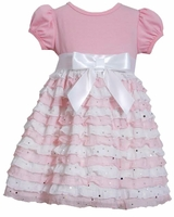 Bonnie Jean Little Girls Pink Ruffle Eyelash Dress