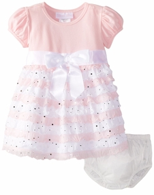 Bonnie Jean Baby Girls Pink Ruffle Eyelash Dress