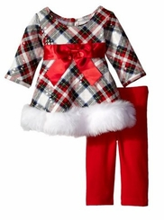 Bonnie Jean Baby Girls Plaid Fit Faux Trim Holiday Pant Set