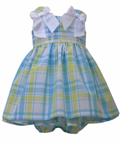 Bonnie Jean Baby-Girls Plaid White Bow Dress