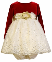 Bonnie Jean Baby Girls Red Gold Bow Stretch Velvet Party Dress