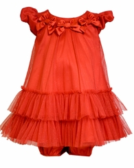 Bonnie Jean Baby Girls Red Mesh Bow Dress
