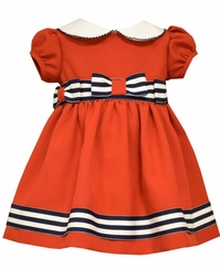 Bonnie Jean Baby Girls Red Stripe Bow Dress