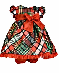 Bonnie Jean Baby Girls Red Taffeta Plaid  Short Sleeve Holiday Dress