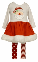 Bonnie Jean Girls Santa Tutu  Holiday Legging Set