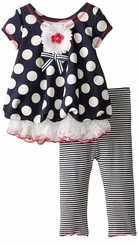 Bonnie Jean Baby-Girls Scuba Dot Navy Stripe Pant Set