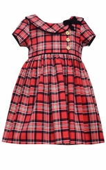 Bonnie Jean Baby Girls Short Sleeve Plaid Collar Dress