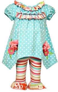 Bonnie Jean Baby Girls Sky Blue Dot Floral Knit Set