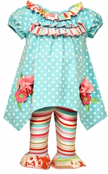 Bonnie Jean Baby Girls Sky Blue Dot Floral Knit Set 3-6 months