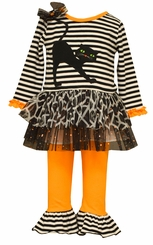Bonnie Jean Baby Girls Stripe Black Cat Halloween Pant Set