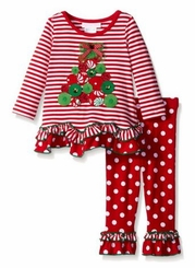 Bonnie Jean Baby-Girls Stripe Dot Tree Applique Christmas Pant Set