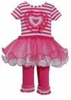 Bonnie Jean Baby-Girls Valentine's Day Stripe Heart Legging Set