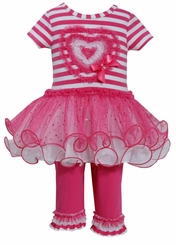 Bonnie Jean Baby-Girls Valentine's Day Stripe Heart Legging Set FINAL SALE