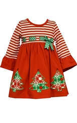 Bonnie Jean Baby Girls Stripe Knit Empire Christmas Tree Dress