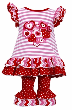 Bonnie Jean Baby or Girls Valentine's Day Heart Pant Set